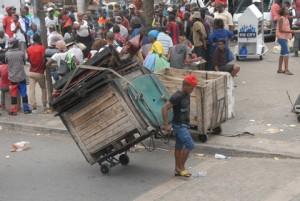 Man pulling wagon in Durban CBD