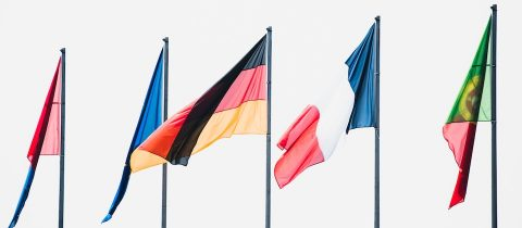 international flags on a white background