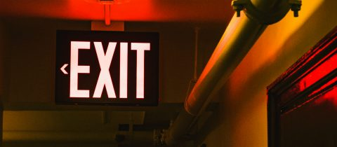 Red exit sign giving users the option to opt-out